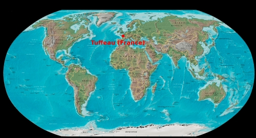 tuffeau sur l'atlas mondial